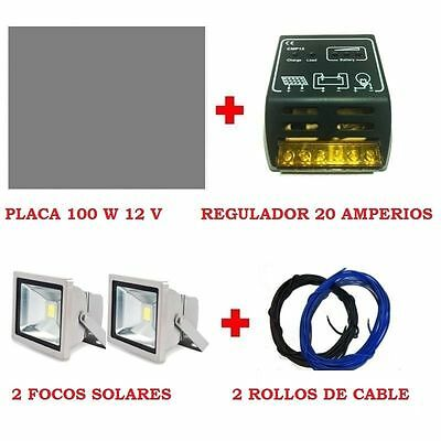 KIT ILUMINACION: PLACA SOLAR ALEMANIA 100W 12 V + REGULADOR 20A + 2  Led+2 Cable