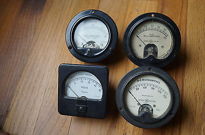 Vintage Meters, Hickok,Simpson and GE, Volts, Milliamps, and  Microamps