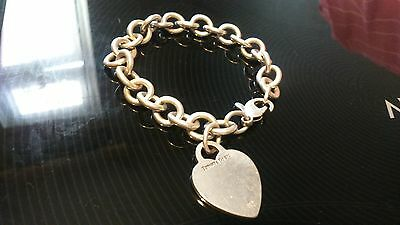 Tiffany & Co Sterling Silver Heart Tag Link Bracelet 7.5""