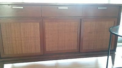 "Mid-Century 54"" L x 30"" H x 18"" D  Buffet with 3 rattan sliding doors"