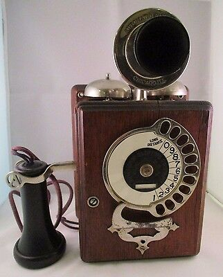 1906 Strowger Dial Wood Wall Phone Beautiful and Complete Automatic Electric