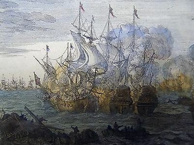 1690 Merian BATTLE OFF ENGLISH COAST handcolored engraving 17th Century
