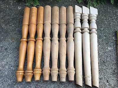LOT Of 10 Antique Carved Turned Wood NEWEL POST SpindlesArchitectural Salvage