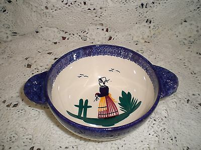Signed Vintage Henriot Quimper French Art Pottery Bowl with Handle; Cream & Blue