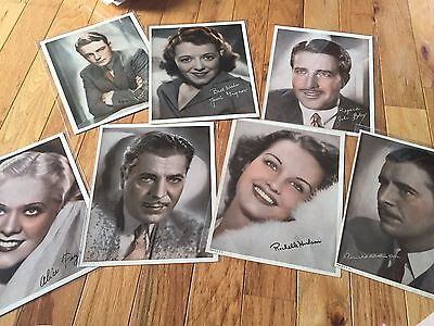 set of 7 retro hollywood movie stars Photos signed lithographs 1930s colorized