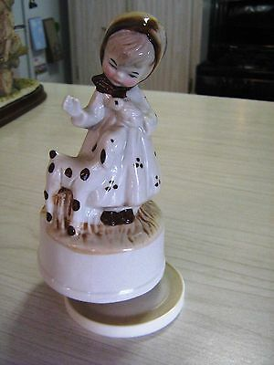 """Vintage Girl With Lamb/Fawn  Music Box Plays """"Raindrops Keep Falling On My Head"""""""