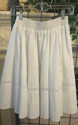 Vintage Malco Modes white square dance skirt with lace inserts size S