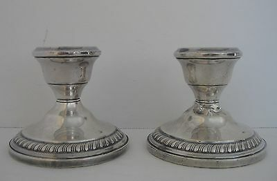 2 Revere Silversmiths Weighted Sterling Silver Candlestick Holders 625 ~ 376g