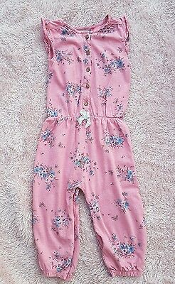 Next Girls Pink Cotton Jumpsuit, 9-12mths