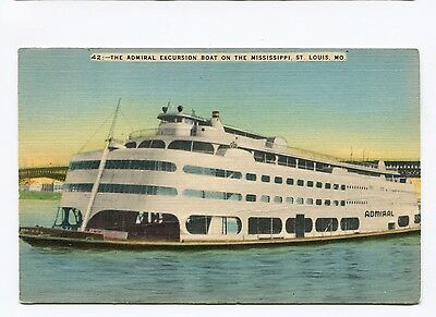 (#796) Admiral Excursion Ship Boat on the Mississippi PM 1968 - 1940s Postcard