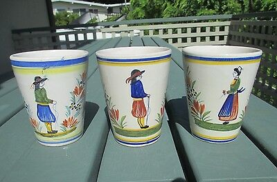 """3 Large 4.25"""" Henriot Quimper Breton Coffee Tea Mugs Cans Cups French Faience"""