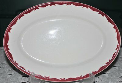 """McNicol Carol 13"""" Oval Serving Platter """"Red"""" & White Swags Vintage Diner China"""