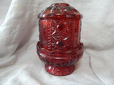 """Vintage Ruby Red Cut Glass Hair Receiver / Candle Holder With Lid 7"""""""