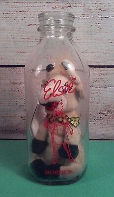 Rare Vintage '96 Borden's Elsie the Cow Plush INSIDE Milk Bottle- Collectable 9""