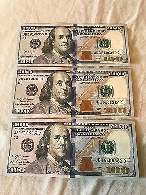 Sequential/Consecutive Uncirculated 2009 Bill Lot ~(3) 100 Dollar Notes