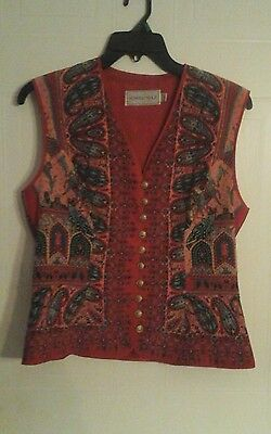 Vintage Howard Wolf Vest Multicolored Nice  Small Made In The USA