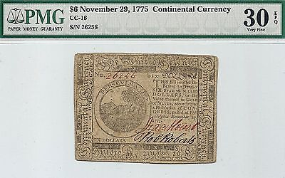 1775 $6 American Revolution Continental Currency Note  djcollectibles