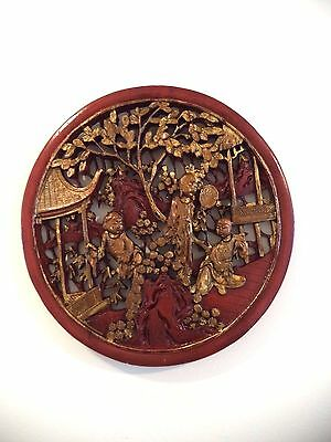 Amazing Antique  Chinese Hand Carved Wood Plaque With Gold Gilded Circa?