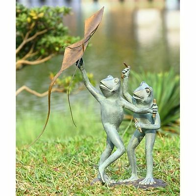 "Frog Kite Flyers Garden Yard Decor Sculpture/Statue Whimsical  25.5""H."