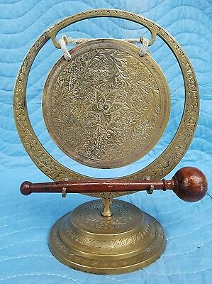 One of a Kind Antique India Hand Crafted Engraved Brass Gong