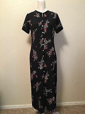 Coldwater Creek Black Floral Long Maxi Dress Short Sleeve Size 8