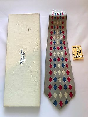 Vintage 1950s Swing Necktie Neck Tie Van Heusen Van Cruise Grey Red Blue White