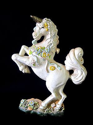 Vintage Solid Cast Iron Metal Mythical White Unicorn Horse Statue Figurine