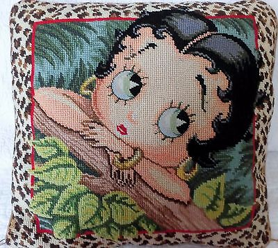 Unusual BETTY BOOP Needle point Petit POINT Leopard Print diva pillow CARTOON