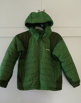 Patagonia Kids Jacket Green Removable Hood Elbow Pad size 10 Child