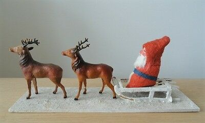 Antique German SANTA CLAUS on SLED with REINDEER Christmas Display (Signed)