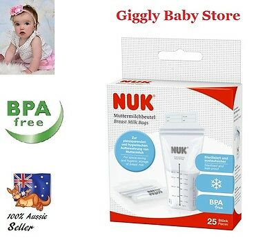 Baby Nuk Breast Milk Storage Bags 25x180ml Leak proof & Freezer storage