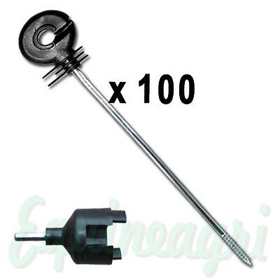Electric Fence 100 x Distance Long Screw Ring Insulators + Spinner Tool