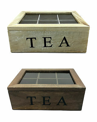 6 Compartments Wooden Rustic Tea Storage Box Container w Glass Top Chest