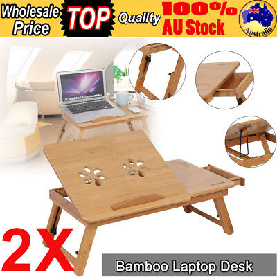 2Pcs Portable Bamboo Laptop Notebook Read Desk Table Mouse Holder Tray Sofa Bed