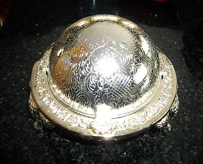 Vintage Silver Plated Round Dome Top Ashtray Trinket Dish  England ~