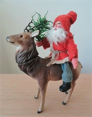 Antique German SANTA CLAUS Riding on a CANDY CONTAINER REINDEER