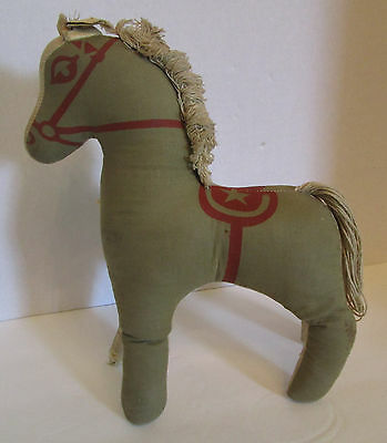 """Antique Small Stuffed Plush Horse 10"""" Olive Linen Military Red Star Toy Pony"""