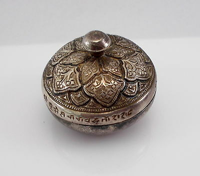 Antique Asian Hallmarks Sterling Silver Detailed Round Pill Box RARE!
