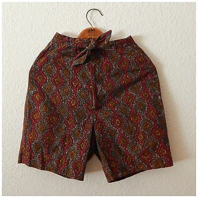 Womens 90s Vintage Hippie Ethnic Red Print High Waist Tie Front Shorts XSmall