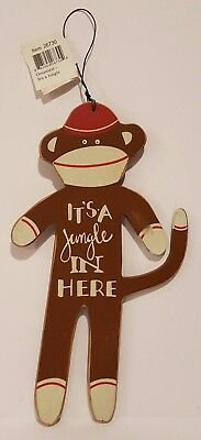 "Primitives by Kathy Wooden 8"" SOCK MONKEY It's a Jungle SIGN Wire Hanger NWT"