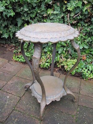 Terrific Vintage Solid Brass 2 Tier Jardinere Stand Side Table