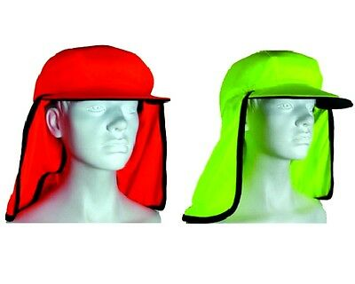 Adult Unisex Mens Hi-Vis Safety Work Wear Hat  Eyelet Mesh Fluro Hat Orange/Lime