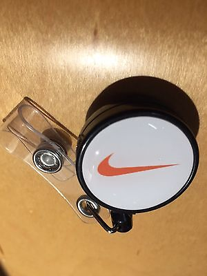 1pcs NIKE Retractable Badge Holder BLK/WHT/ORANGE SWOOSH LOGO
