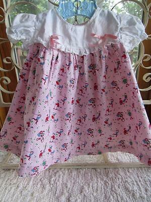 Vintage 1960s Little Baby Girls PINK Cotton Novelty Print Dress Size Size 6-9mos