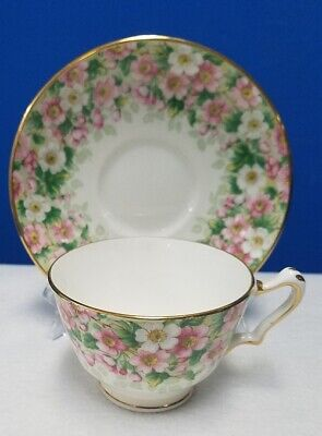 CROWN STAFFORDSHIRE china MAYTIME chintz pattern Cup & Saucer Set