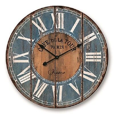 NEW 60CM Large Round MDF Wall Clock Pairs Blue Home Decor Mother's Day Gift