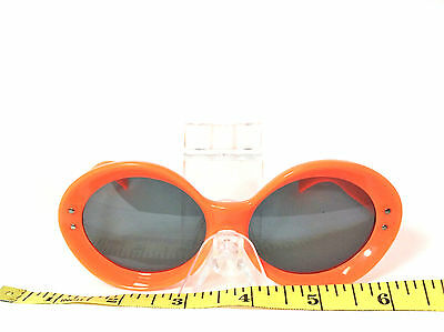 NOS True Vintage Mod GoGo 1960s Large Orange Round/Oval Sunglasses Size M