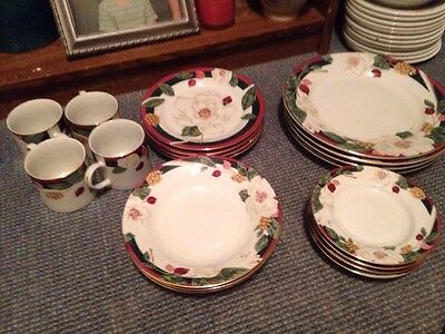TIENSHAN FINE CHINA BEAUTIFUL MAGNOLIA FLOWERS Lot  20 Pieces Exc Condition