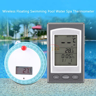 WIRELESS SWIMMING POOL FLOATING DIGITAL THERMOMETER-SPA WATER HOT TUB REMOTE yfq
