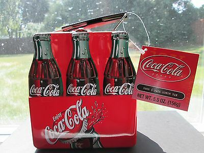 New: Coca-Cola 6 Pack Bottles, Metal Tin Lunch Box with Handle, Orig Tags